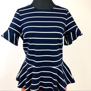 J. Crew Tops - J. Crew Sz S NWT Blue & White Striped Peplum Top